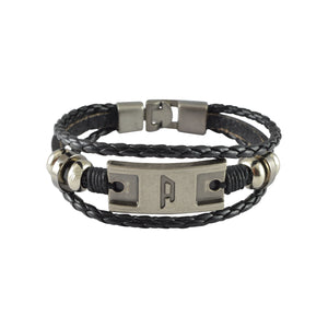 Sarah Leather Letter 'A' Multilayer Braided Mens Bracelet - Black