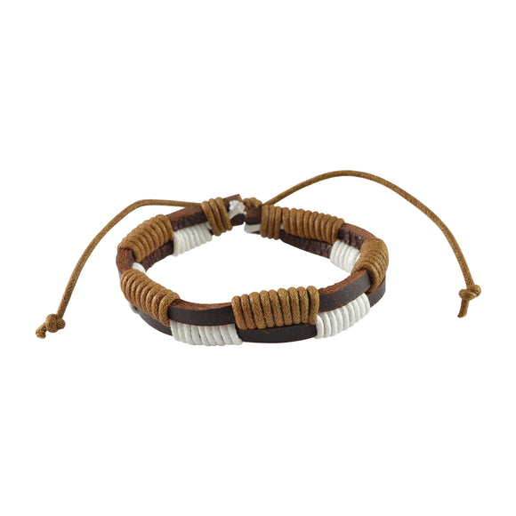 Sarah Leather 2-Layer Tangled Strings Mens Bracelet - Brown