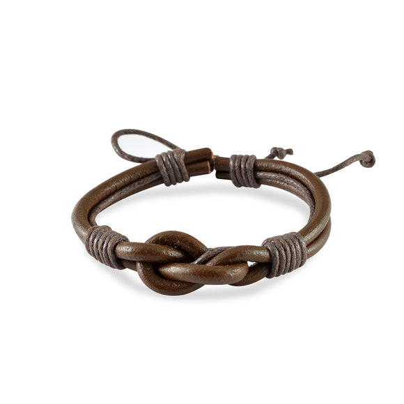 Sarah Leather Marine Knot Mens Bracelet - Coffee
