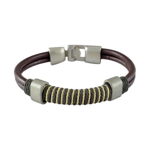 Sarah Leather Dual String Wrap Mens Bracelet - Coffee