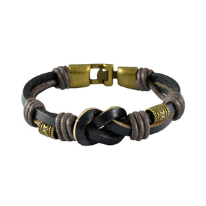 Sarah Leather Dual String Knot Mens Bracelet - Black