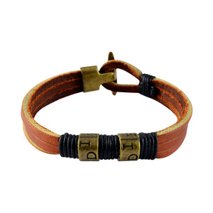 Sarah Leather Easy Hook Beaded Mens Bracelet - Brown