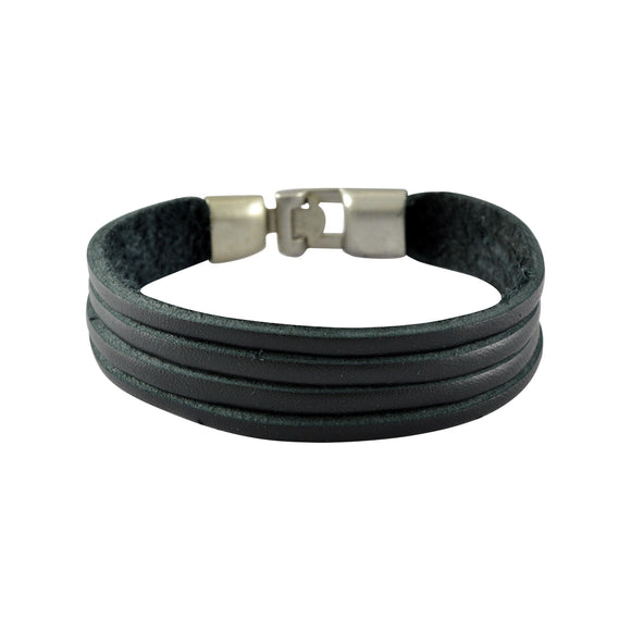 Sarah Leather Multilayer String Mens Bracelet - Black