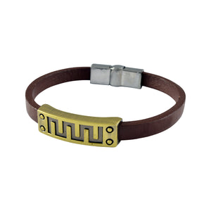 Sarah Leather Digital Signal Sign Mens Bracelet - Brown