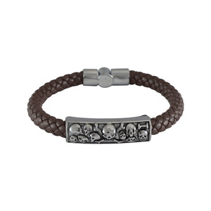 Sarah Leather Skull Braided Magnetic Clasp Mens Bracelet - Coffee
