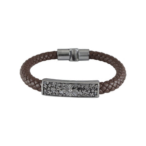 Sarah Leather Filigree Design Braided Magnetic Clasp Mens Bracelet - Coffee