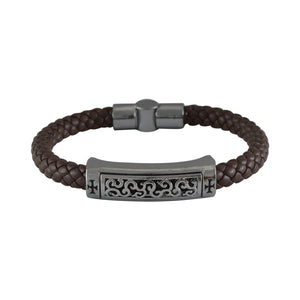 Sarah Leather Filigree Design with Cross Braided Magnetic Clasp Mens Bracelet - Coffee