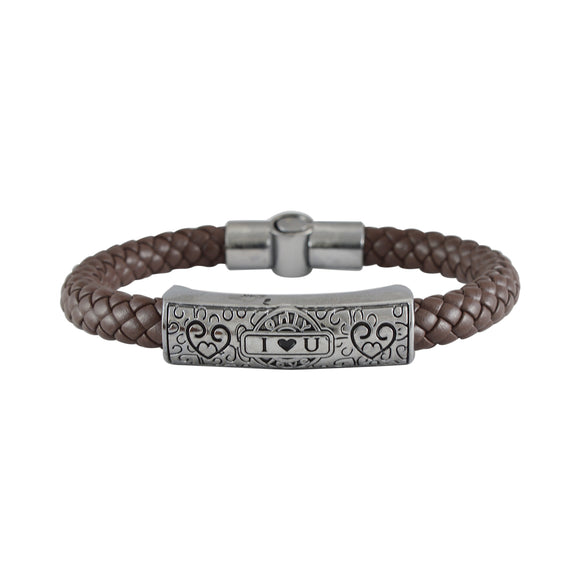 Sarah Leather Hearts Braided Magnetic Clasp Mens Bracelet - Brown