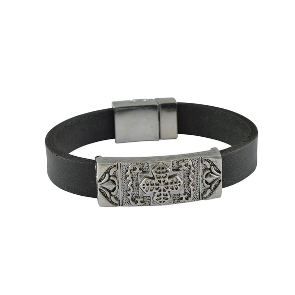 Sarah Leather Cross Band Mens Bracelet - Black
