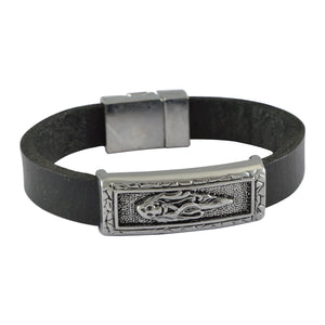 Sarah Leather Skull Lady Band Mens Bracelet - Black
