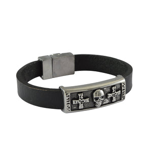 Sarah Leather Skull and Cross Mens Bracelet - Black