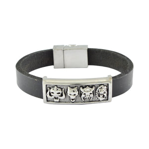 Sarah Leather Devil Face Band Mens Bracelet - Black