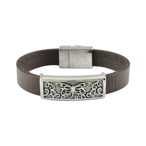 Sarah Leather Butterfly Band Mens Bracelet - Brown