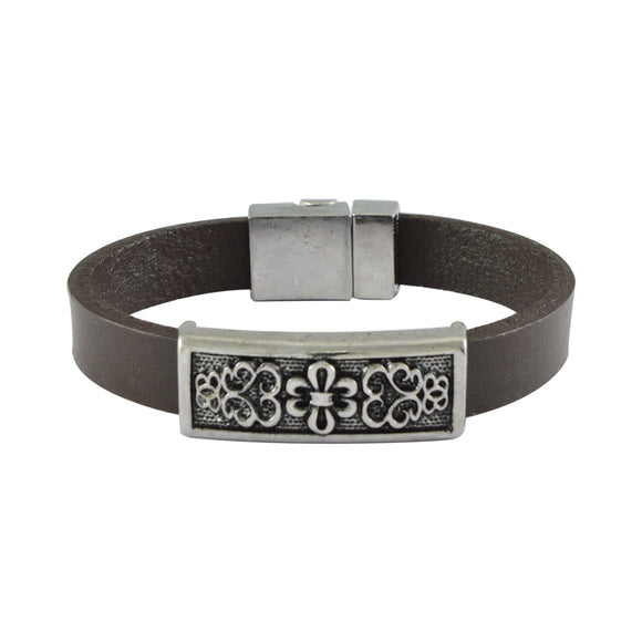 Sarah Leather Filigree Design Band Mens Bracelet - Brown