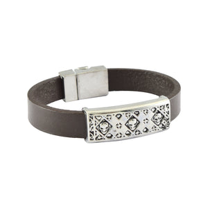 Sarah Leather Three Skull Band Mens Bracelet - Brown