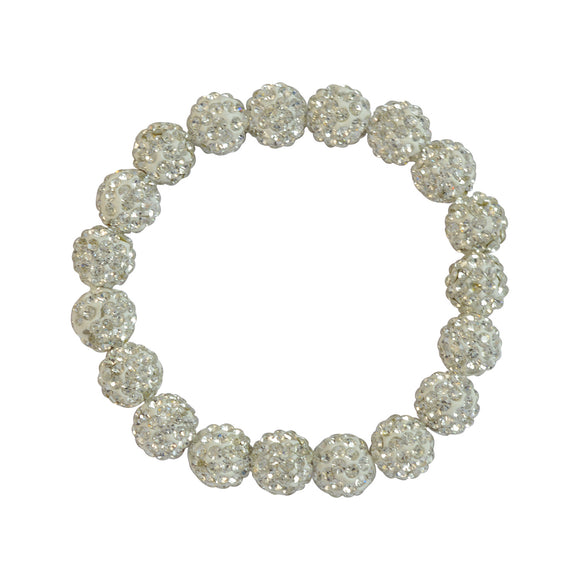 Sarah Beaded Stretch Bracelet for Girls - White