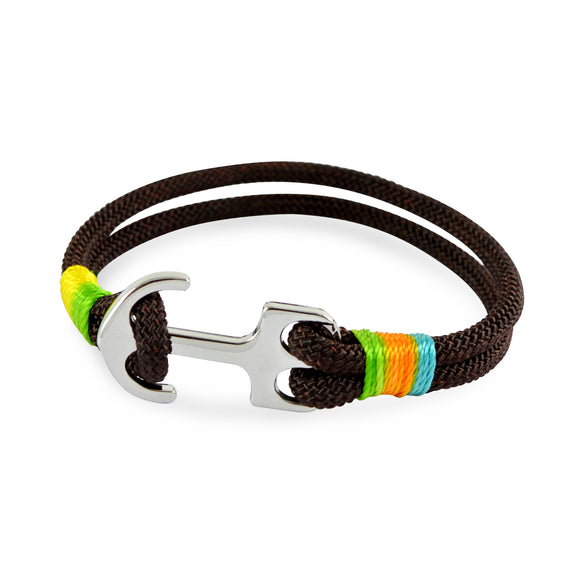 Sarah Leather Rope Anchor Brown Mens Bracelet