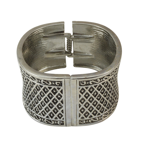 Sarah Sparkling Fashion Oxidised Kada Cuff Bracelet for Girls and Women