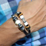 Sarah Leather Double Strap Beaded Black Mens Bracelet