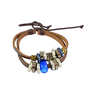Sarah Leather Blue Beads Multi Layer Brown Mens Bracelet