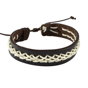 Sarah Coffee Leather Braided Rope Wristband Mens Bracelet