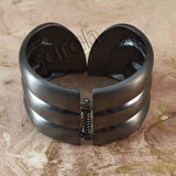 Sarah Eye-catching Gunmetal Grey Wide Bangle Bracelet for Girls and Women