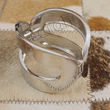 Sarah Classic Silver Oval Cuff Kada Bracelet for Girls and Women