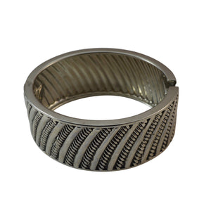 Sarah Engraved Stainless Steel Textured Cuff Bracelet for Girls and Women