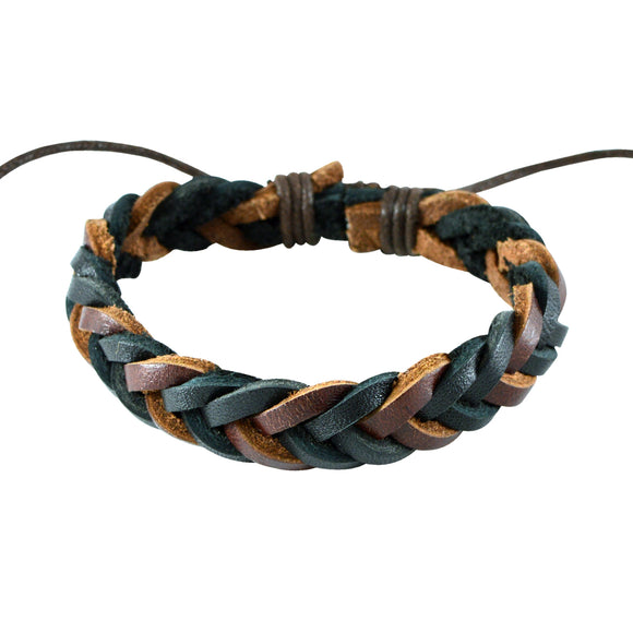 Sarah Black n Brown Leather Braided Style Wristband Mens Bracelet