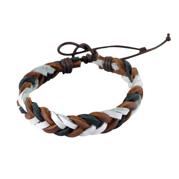 Sarah White n Brown Leather Braided Style Wristband Mens Bracelet