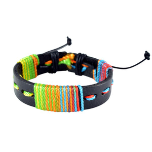 Sarah Black Leather Colorful Coiled Wristband Mens Bracelet