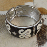 Sarah Charming Fashion Black and White Enamel with Clear Rhinestones Round Cuff Bangle for Girls and Women