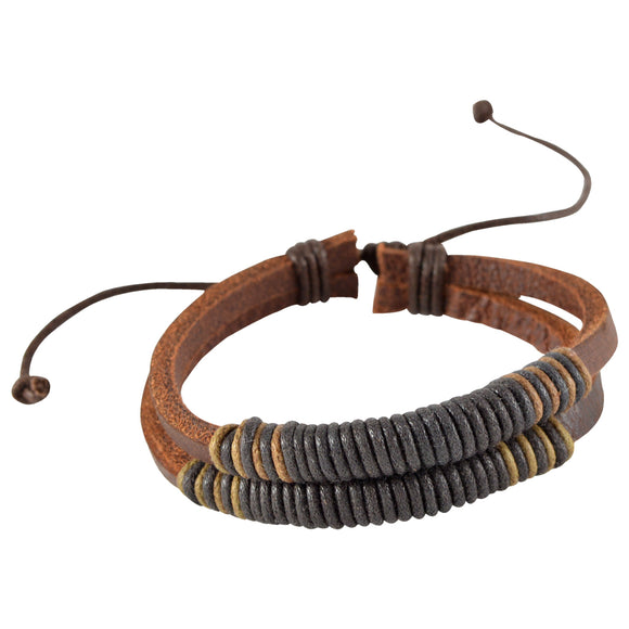 Sarah Brown Leather Double Strand Coiled Mens Bracelet