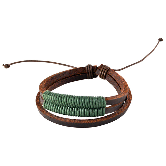 Sarah Brown Leather Multi-Strand Coiled Mens Bracelet