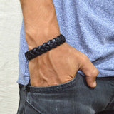 Sarah Black Leather Thick Braided Mens Bracelet