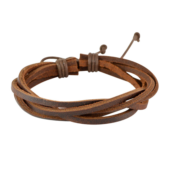 Sarah Brown Leather Multi-Strap Twisted Mens Bracelet