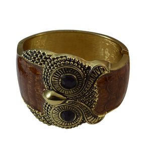 Sarah Beautiful Owl Face Gold Tone Engraved Design Fashion Bangle Bracelet Cuff for Girls and Women