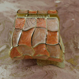 Sarah Wide Contemporary Peach Color Enamel Cuff Bangle Bracelet in Gold Tone for Girls and Women