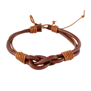 Sarah Brown Leather Knotted Mens Bracelet