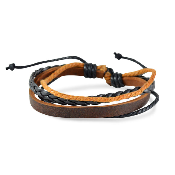 Sarah Brown Leather Multi-Strap Stylish Mens Bracelet