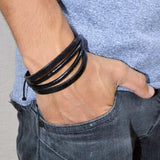 Sarah Black Leather Plain Multi-Strap Mens Bracelet