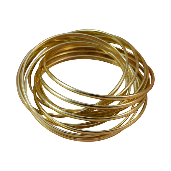 Sarah 12 pc Entangled/Interlocked Gold Tone Partywear Bangles/Cuff/Bracelet for Girls and Women