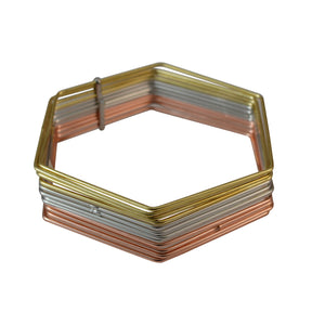 Sarah 12 pc Set Hexagon Shape Gold Tone, Silver Tone and Copper Tone Partywear Bangles/Cuff/Bracelet for Girls and Women