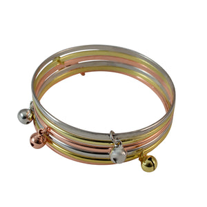 Sarah 6 pc Set Gold Tone, Silver Tone and Copper Tone Bangles with Bell Charm Partywear Bangles/Cuff/Bracelet for Girls and Women