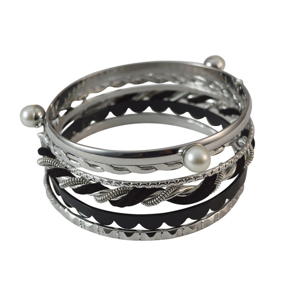 Sarah Bangles for Women Stylish Oxidised Black Metal Twisted Stainless Steel Bangles Set of 6