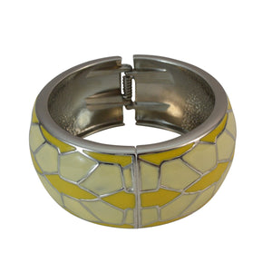 Sarah Broad Enamel Geometric Design Silver Interior Finish Hinged Bangle Bracelet Round Cuff/Kada for Girls and Women