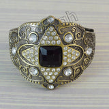 Sarah Brass Tone Clear Crystal Rhinestones Cuff Bracelet for Girls and Women