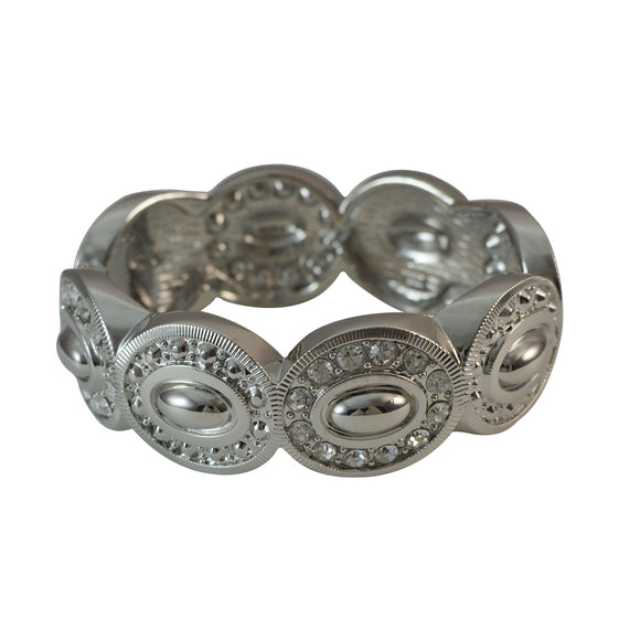 Sarah Simple Silver Tone Oval Designs Fashion Bracelet Featuring Crystal Rhinestones Silver Cuff for Girls and Women