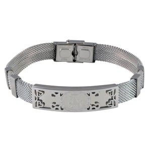Sarah Stainless Steel Capricorn Zodiac Sign Mens Mesh Bracelet