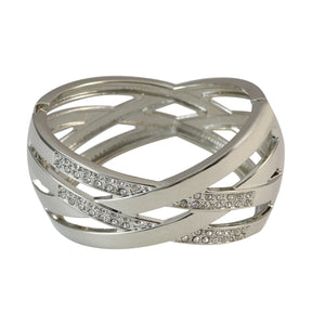 Sarah Wide Crystal Wavy Hinged Bangle Bracelet in Stainless Steel for Girls and Women